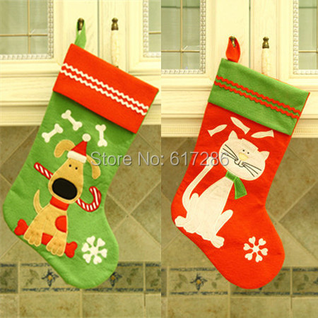 Cat Christmas Stockings.Us 16 0 Free Shipping 2pcs Lot New Little Dog And Cat Christmas Stocking 18