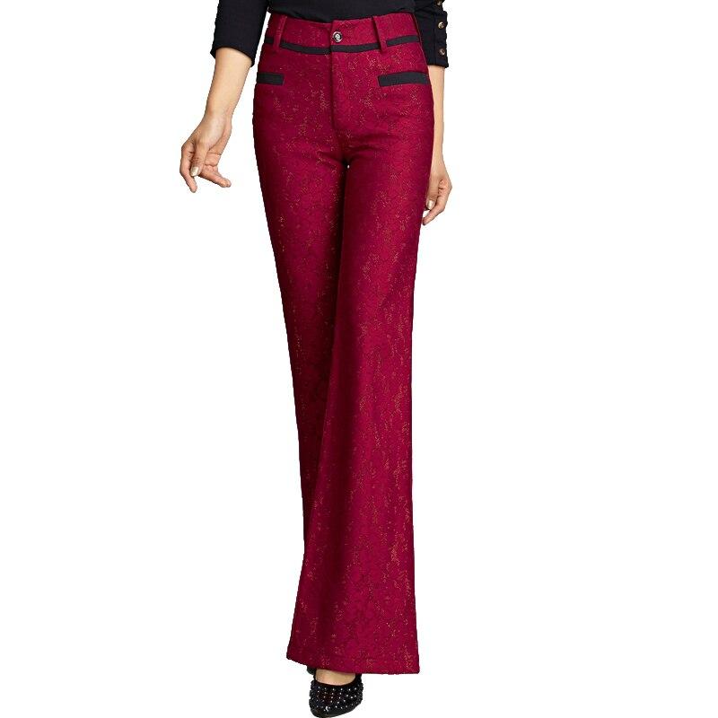 2018 Bas En De Haute Micro Pantalon Mince Poisson Streetwear Cloche Longue Rouge Large Taille Dentelle rouge Automne Jambe Queue Femelle Bleu 8wPXO0nk