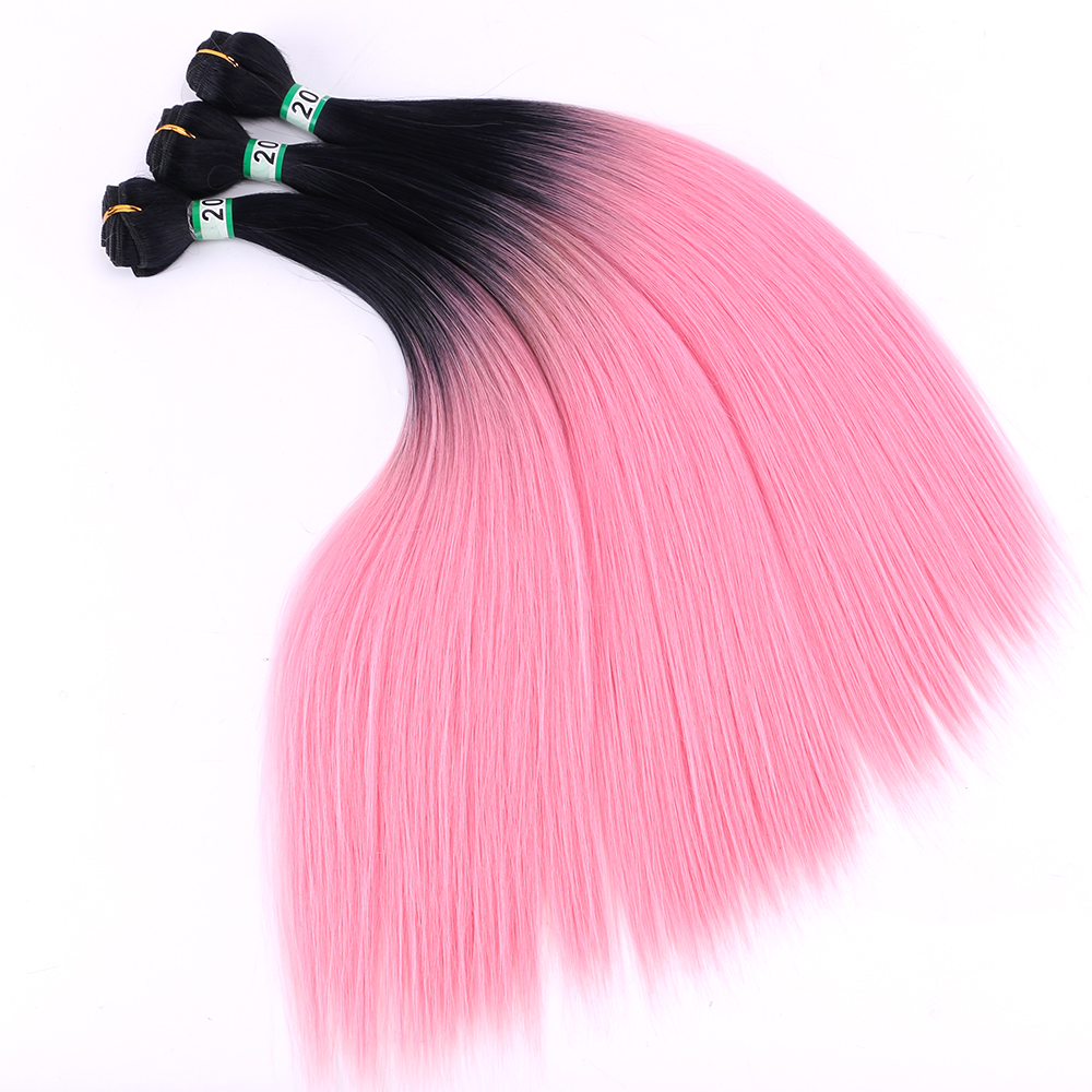 16-24 Inch 100gram/pcs Straight Hair Extension Black To Light Pink Ombre Synthetic Hair Bundle For Women