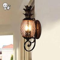 Outdoor Iron Glass Pineapple Shade Wall Lamp Fixture Vintage Industrial Antique Retro Art Deco Porch Lighting for Garden Balcony