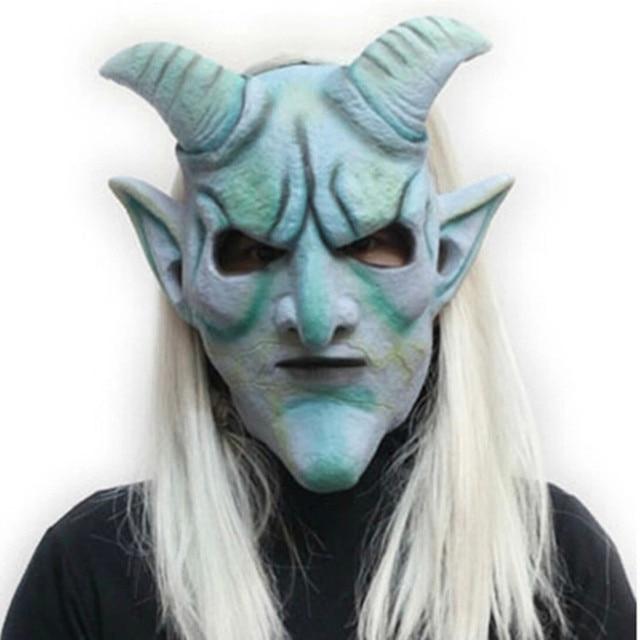 silver horn king head latex mask deluxe fancy dress halloween demon walking dead mask halloween mask