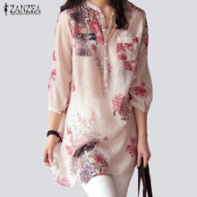 ZANZEA 2017 Women Blouses Casual Vintage Floral Printed Long Tops Fashion V Neck Button Linen Shirts Plus Size Blusas Femininas