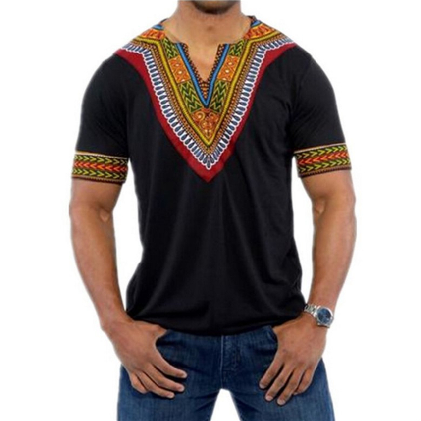 6Color 2019 African Clothes for Men's T-shirt Bazin Africa Traditional Print Dashiki V-neck Man Tops New African Dresses S~XXL