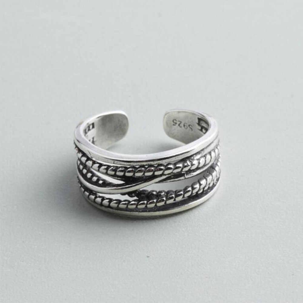 Anenjery 925 סטרלינג כסף טבעות Stackable טוויסט שרשרת שחור אבן תאילנדי כסף פתיחת טבעות לנשים anilons S-R122