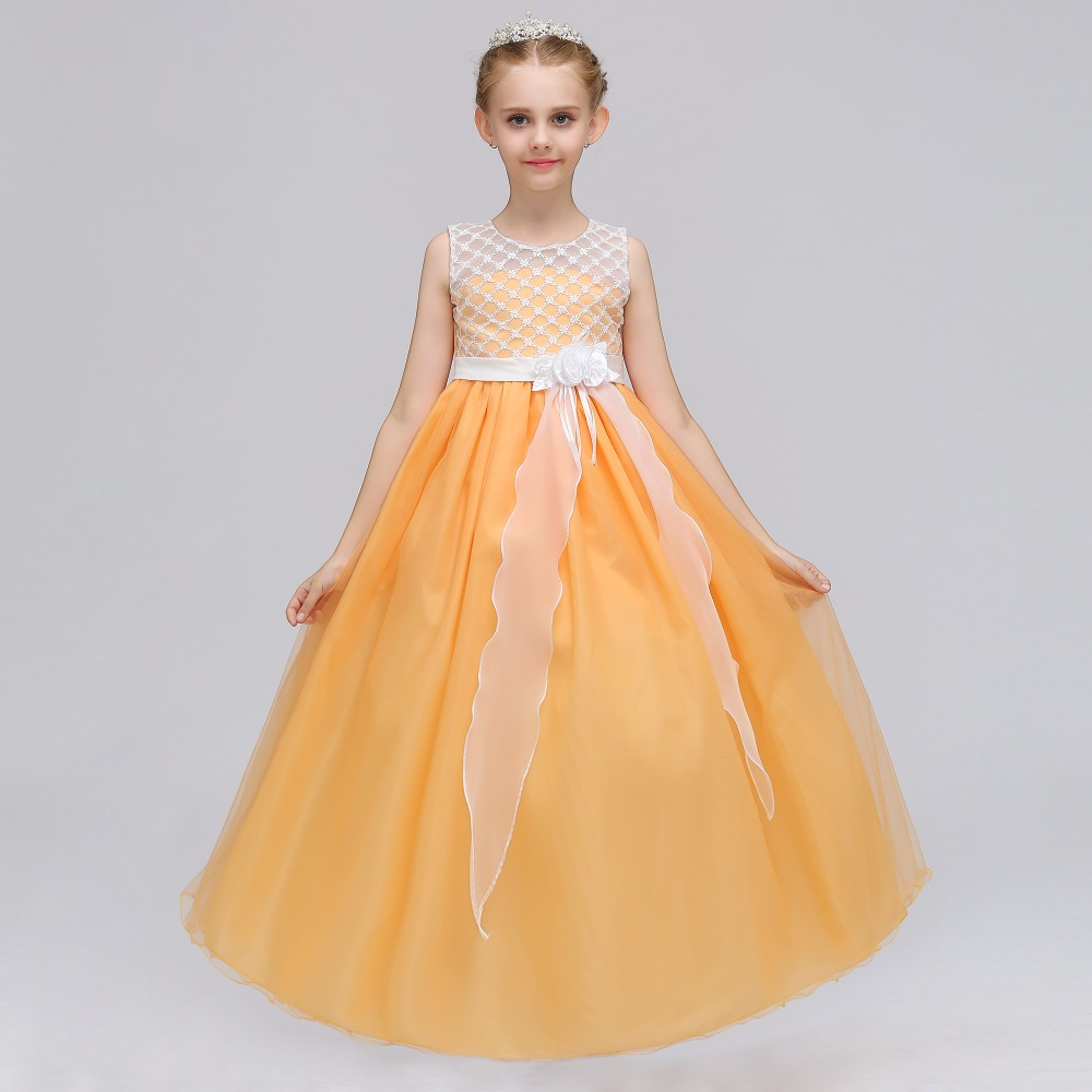 Retail Embroidery Hollow Princess Evening Party Long   Dress   With   Flower   Elegant Tassel   Flower     Girls     Dress   LP-74