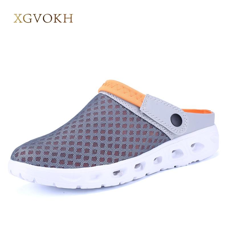 Для мужчин летние сандалии Обувь с дышащей сеткой сандалии летние пляжные Для мужчин обувь воды человек тапочки модные шлепанцы Дешевая обувь