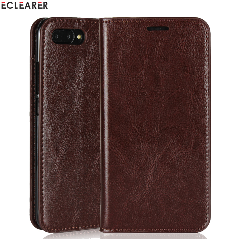 ECLEARER Wallet Case Huawei Honor V10 Genuine Leather Case Honor 10 Vintage Card Slots Flip Case For Huawei Honor View 10 Cover