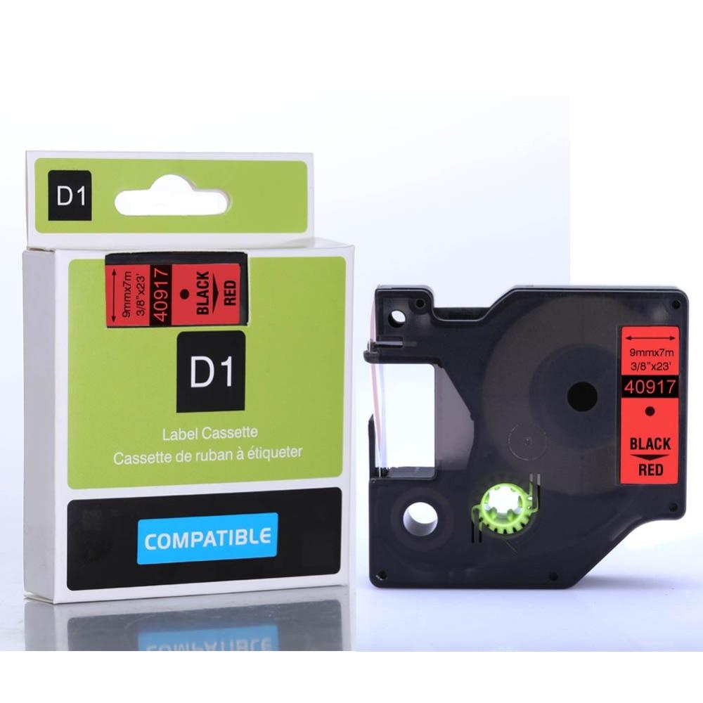 2pcs 3/8x23ft DYMO 40917 Black on Red DYMO D1 label cassette for DYMO label makers