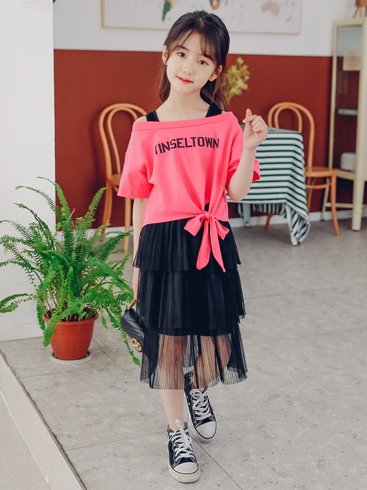 Filles Tenues D'été Ensemble de Vêtements Pour Enfants 2019 Bambin Rose Enfants hauts + Jupe 2 pièces Costume Scolaire 7 8 9 10 12 T Vestiti Bambina