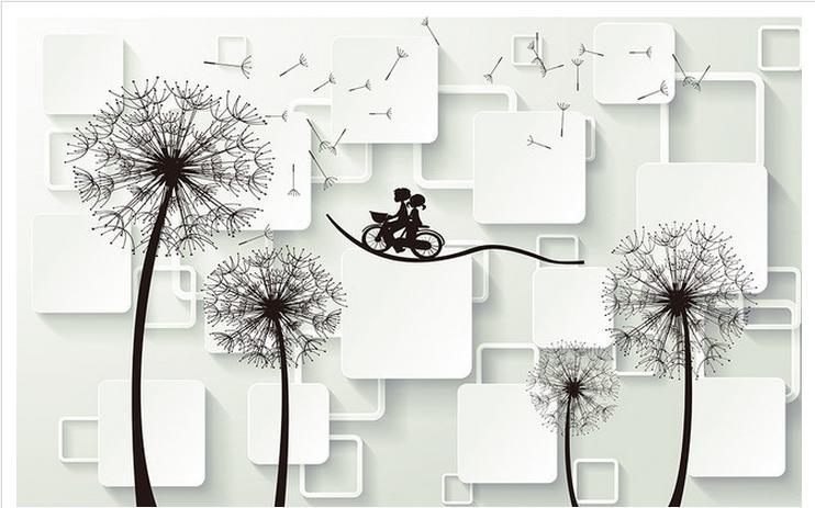 Customized 3d photo wallpaper 3d wall mural wallpaper Dandelion squares bike couple 3 d TV setting wall 3d living room wallpaper
