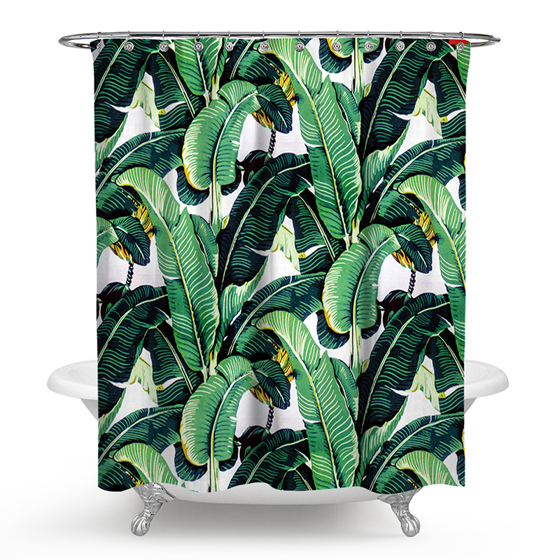Polyester Shower Curtain 3D Painted Tropical Palm Leaf Bath Screens Scenery Waterproof Bathroom