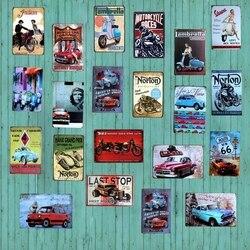 Classic Car Motorcycle Tin Sign Garage  Metal Plates Wall Pub Cafe Home Art Motor Decor  Iron Poster Cuadros A-1009
