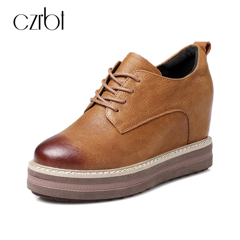 CZRBT Autumn Winter Women Shoes Round Toe Genuine Leather Oxfors Platform Shoes Height Increasing Casual Flat Shoes Black Brown czrbt women flat shoes new arrive genuine leather round toe slip on flat platform shoes woman casual flats army green black