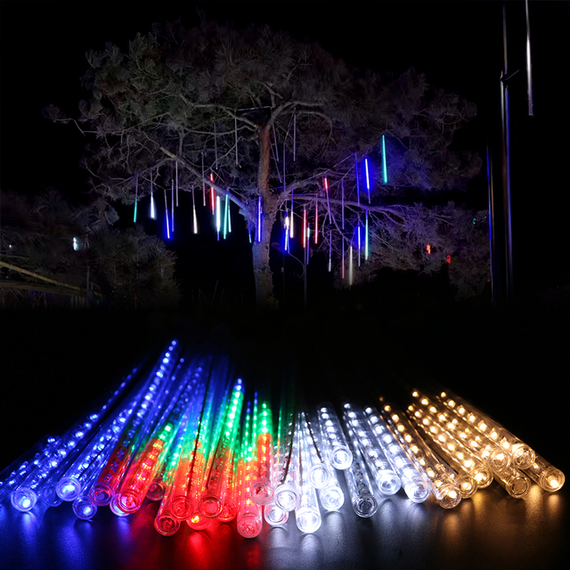 30cm 17led 8 tubes meteor shower rain tube christmas light wedding party garden xmas string light