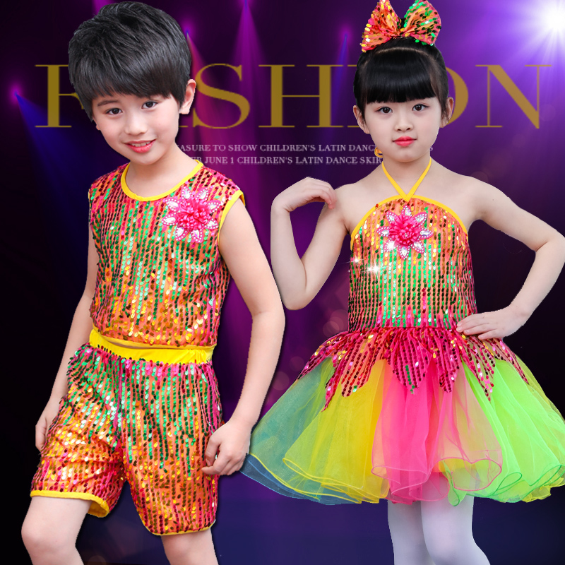 Kid boy girl dance colorful rainbow sequins glitter jazz costume dress clothes hip hop dance stage costume clothing tutu