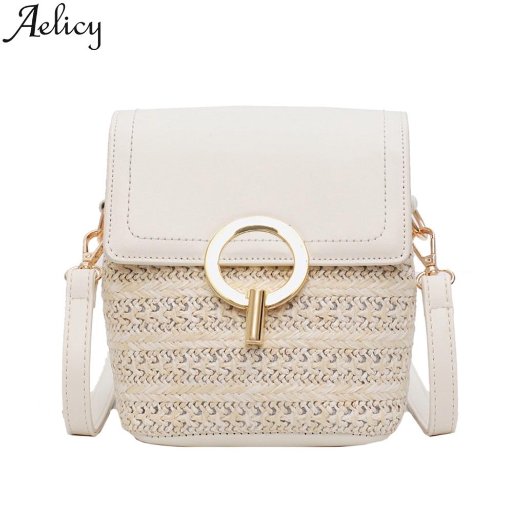 Aelicy Fashion Bag Straw-Bag Stitching Rattan Square Vintage Wind-Bohemian Beach