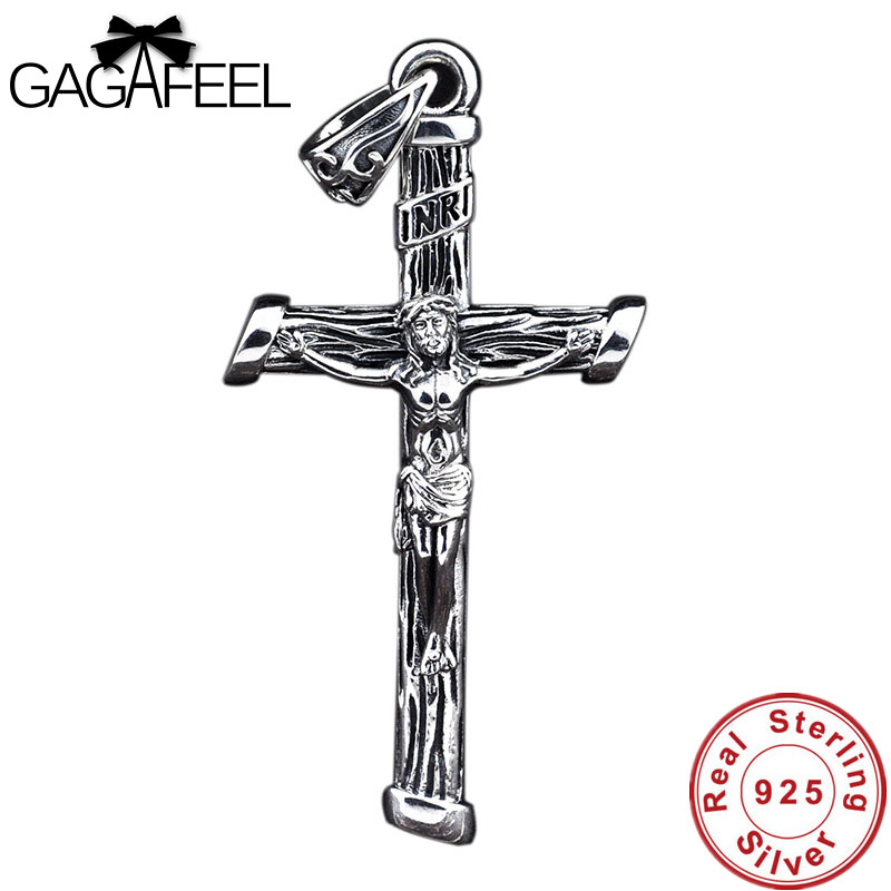 Gagafeel S925 Solid Silver Jesus Cross Pendant High Quality Retro Real Pure 925 Sterling Silver Pendants for Men Women Necklaces