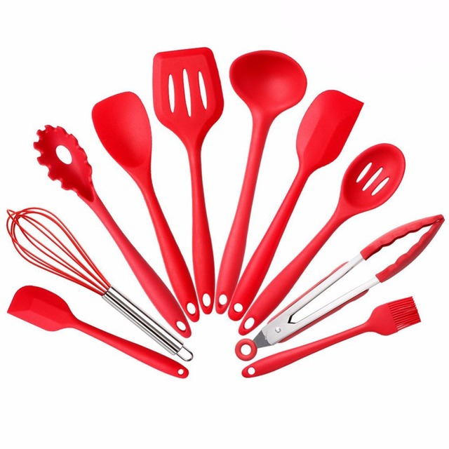 Silicone Kitchen Utensils 10 Piece Cookware Cooking