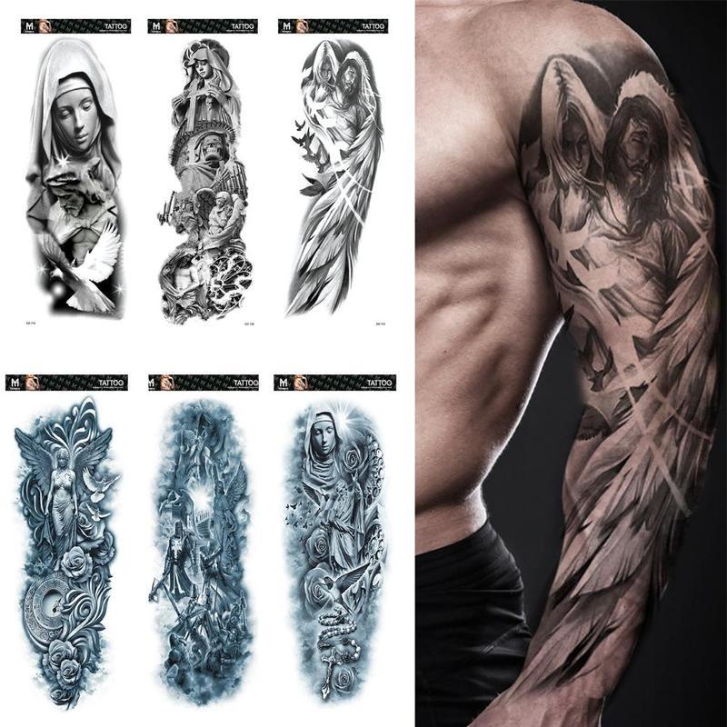 Waterproof Temporary Tattoo Sticker Full Arm Large Lion Tiger Unisex Fake Tatoo Stickers Fake Tattoos Tatuajes Temporales