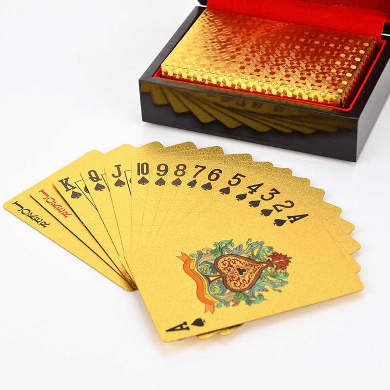 24K Emas Poker Bermain Kartu Emas Foil Poker Pesta Ulang Tahun Hadiah Tahan Air Permainan Bermain Kartu Emas Poker Set Kayu kotak Hadiah