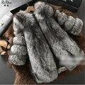 Mujeres de La Capa de Invierno Genuino Natural Fox Abrigos de Piel de Lujo completo de Piel Real Abrigo de Piel Chaqueta de Piel de Zorro de Plata Femenina 20150915-2
