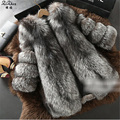 Women's The Coat Winter Genuine Natural Fox Fur Coats Luxury Full Pelt Real Fur Coat Female Silver Fox Fur Jacket 20150915-2