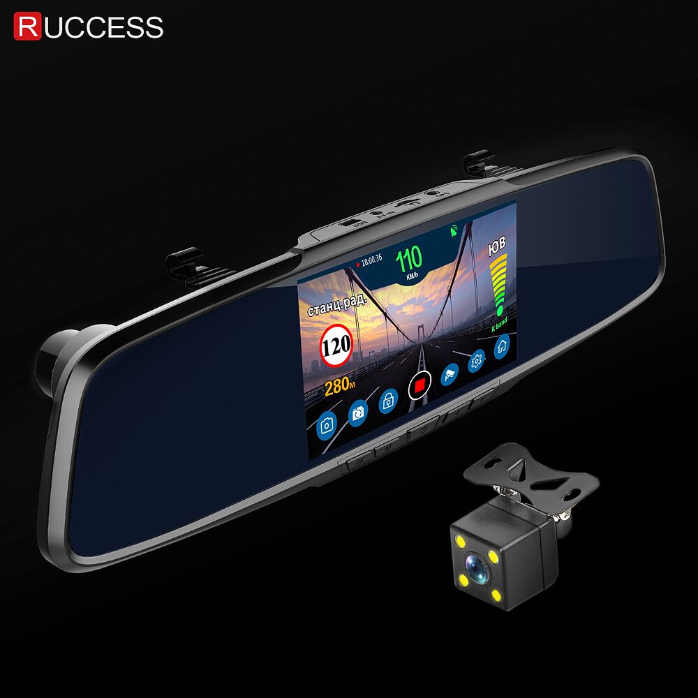 Ruccess Rear View Mirror Radar Detector 3 in 1 DVR Full HD 1080P Recorder Camera Anti