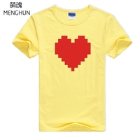 Lovely 8 Bit Effect Printing T Shirts Retro Game Fans Undertale T Shirts Game Concept Short