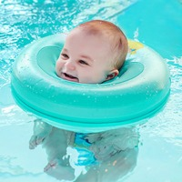 Safety non inflatable floating ring round circle neck swim trainer no need pump air baby bath accessories swimming conformation