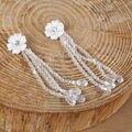 Bonita Do Laço Da Flor Contas de Cristal Waterdrop Borlas Brincos Não Piercing Dangle Brincos Longos Noiva Acessório Do Vestido de Casamento