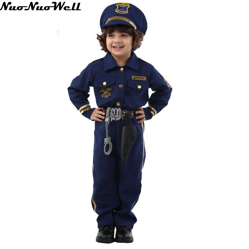 Halloween Party Dark Blue Super Policeman Cosplay Costume Kids Cute Children Cosplay Costumes Boy Fancy Dress with props