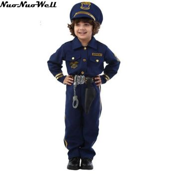 Halloween Party Donkerblauw Super Politieagent Cosplay Kostuum Kids Leuke Kinderen Cosplay Kostuums Jongen Fancy Dress met rekwisieten
