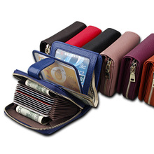Купить с кэшбэком 2018Genuine Leather Women Wallets Short Zipper Pocket Women Purse MORE Card Holder High Quality Female Purse Note Compartment