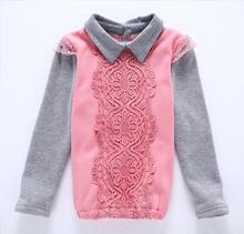 Clarance girls collared shirts polo-neck long sleeve patchwork kids girls shirts and blouses girls clothes 4-12Y KT1529