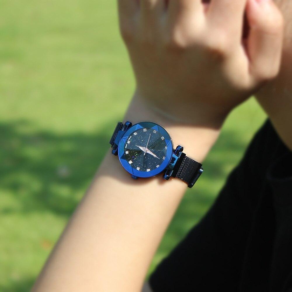 Luxurious Star surface watch female magnet iron net with quartz waterproof fashion lady Wrist
