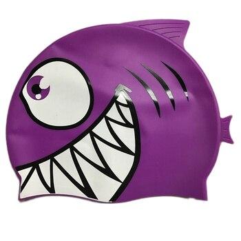 Child Kids Silicone Swimming Cap Cartoon Shark Elastic Swim Pool Cap Comfortable High Quality Bathing Hats For Boys Girls Babies 9
