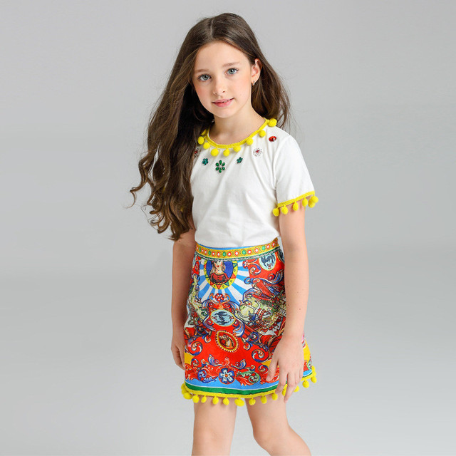 2017 Summer Baby Girls Fashion National Style Clothing Costume For Kids Printed Tassel Next Clothing Sets