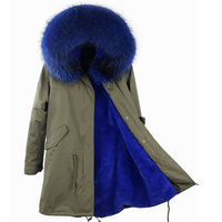 2018 Parka Real Fur Winter Brand Detachable Lining Casual Army Green Large Fur Hooded Down Jackets Outwear Good fur Parka Women