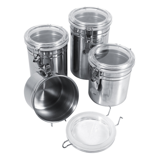 Stainless Steel Canister Kitchen Storage Box Jars Container Coffee Sugar Tea Bottles Home Snack