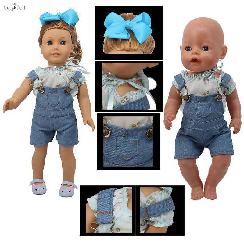LUCKDOLL กางเกงยีนส์สายคล้องสายคล้องไหล่ปรับได้ 18 นิ้วอเมริกัน 43 ซม.BabyDoll อุปกรณ์เสื้อผ้า,ของเล่น, รุ่นของขวัญ