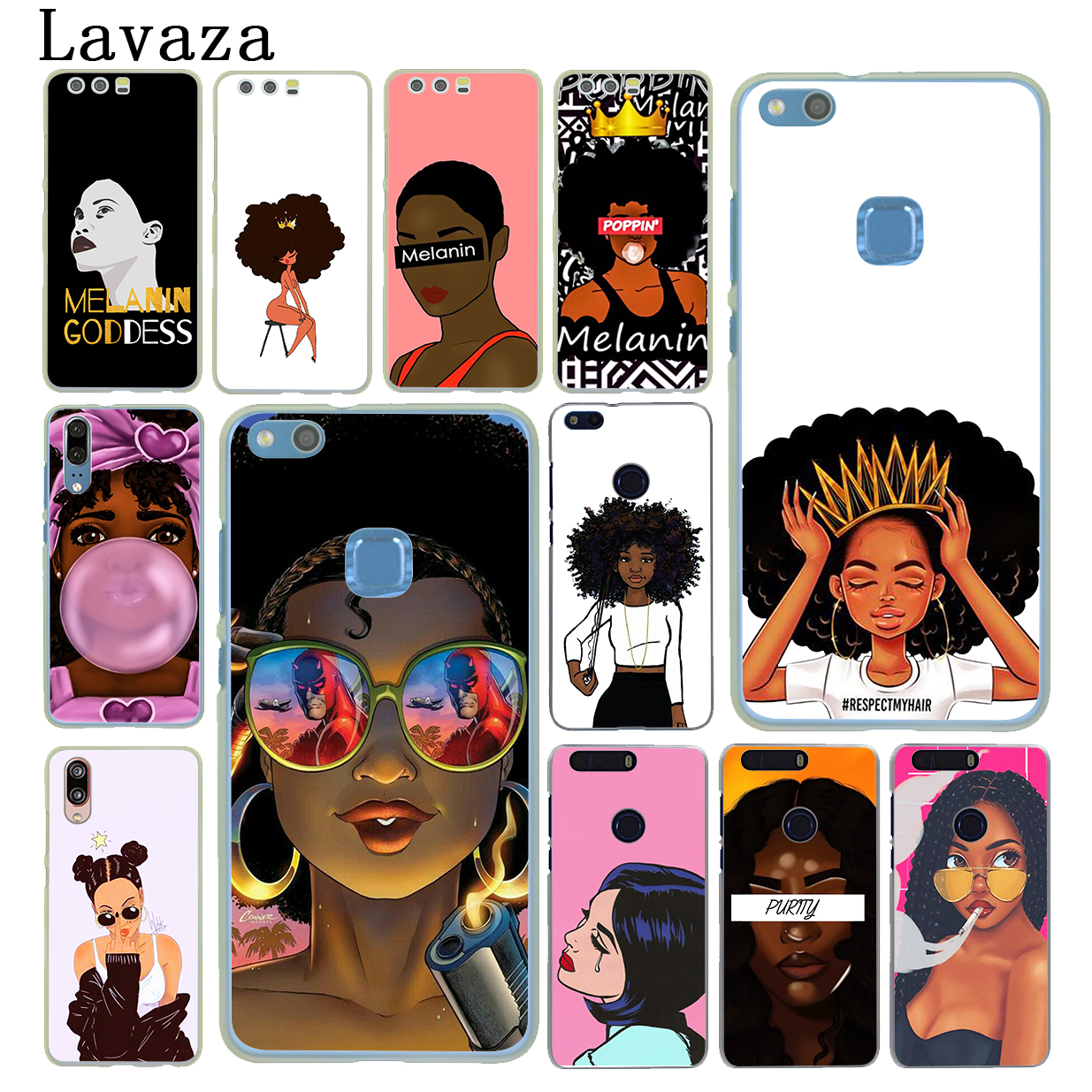 Mougol Cose Cover For Huawei Honor 4c 5x 6 6c 6x 7 7c 7a Pro 7x 8 8x 9 Lite 10 African Print Beauty Afro Puffs Black Girl Cellphones & Telecommunications Phone Bags & Cases