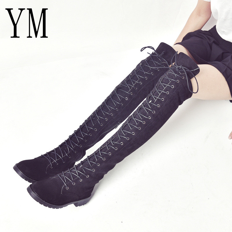Big 43 Hot Women Boots Motorcycle Boot Winter Ladies Fashion Square Heel Boots Shoes Over The Knee Thigh High Suede Long Boots