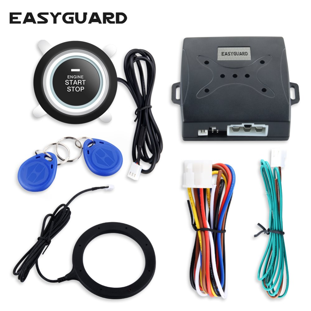 El kit de alarma para automóvil EASYGUARD RFID de calidad con botón de arranque, parada, inmovilizador de transpondedor, se adapta a la mayoría de los autos dc12v