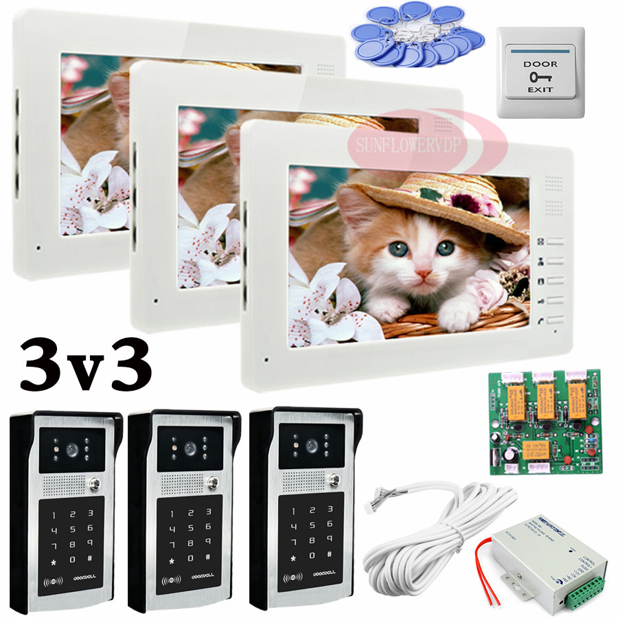 Apartment 3 Doors HD 700lines Cameras Password And RFID Cards Unlock 3 Color 7 Monitors Video Intercom System Bells Door phonesApartment 3 Doors HD 700lines Cameras Password And RFID Cards Unlock 3 Color 7 Monitors Video Intercom System Bells Door phones