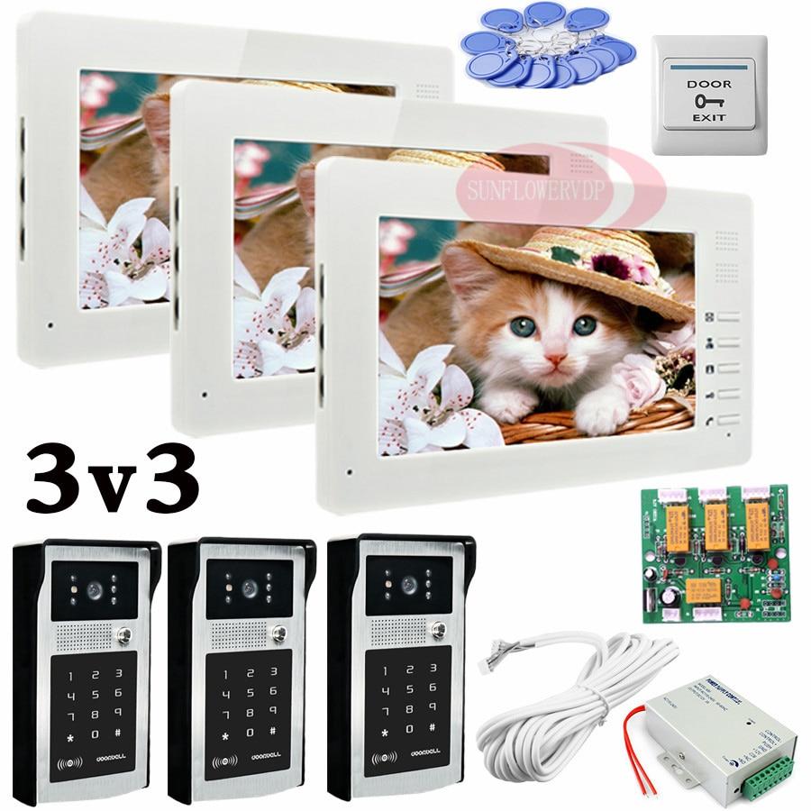 Apartment 3 Doors HD 700lines Cameras Password And RFID Cards Unlock 3 Color 7 Monitors Video Intercom System Bells Door phones my apartment