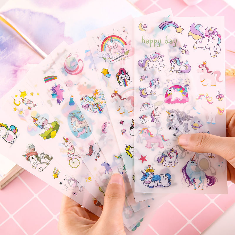 6 Sheets Fashion Cartoon Unicorn Stickers For Girls Boys Children Notebook PVC Stickers DIY Decoration Toy Gifts For Kids