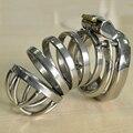 Cockring de metal anti-off dispositivo de castidade masculino de aço inoxidável do caralho gaiola mens dick penis bloqueio gaiolas brinquedos produtos do sexo para os homens