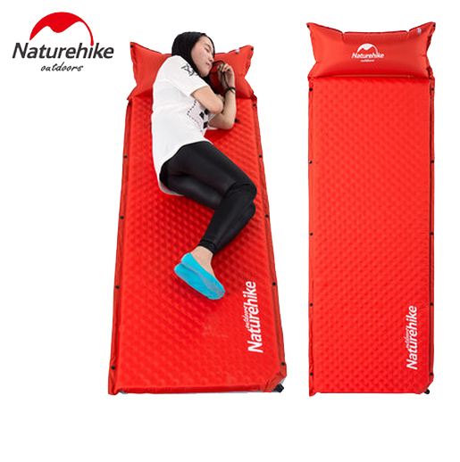 Naturehike Outdoor Automatic Inflatable Sleeping Pad Moistureproof Tent Mat Air Mattress Camping Pad With Pillow NH19Q006-D outdoor double layer 10 14 persons camping holiday arbor tent sun canopy canopy tent