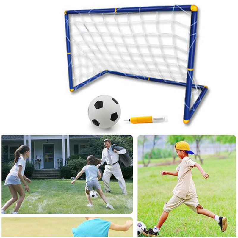 Children Outdoor Sport Toy Football Kit W/ Goal Gate Portable Inflatable Ball Tool Movement Ability Develop For Boy Team Work