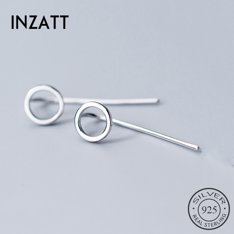 INZATT Real 925 Sterling Silver Minimalist Hollow Round Drop Earrings For Elegant Women Party Fine Jewelry 2019 Accessories